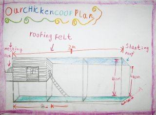 One of the children's plans for the chicken coop